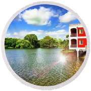 Belize River House Reflection Round Beach Towel