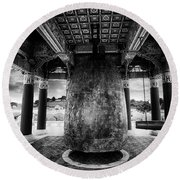 Round Beach Towel featuring the photograph Bell Of Friendship B W  by Joseph Hollingsworth