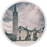 Round Beach Towel featuring the photograph Bell Tower In Italian Village by Silvia Ganora