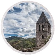 Bell Tower Of The Old Church, Olargues France Round Beach Towel
