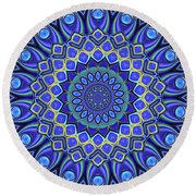 Round Beach Towel featuring the digital art Bella - Blue by Wendy J St Christopher