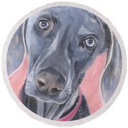 Round Beach Towel featuring the painting Bella by Jamie Frier