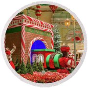 Bellagio Christmas Train Decorations And Ornaments Round Beach Towel