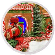 Bellagio Christmas Train North Pole Decorations 2017  Round Beach Towel