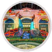 Bellagio Conservatory Fall Peacock Display Panorama 3 To 1 Ratio Round Beach Towel