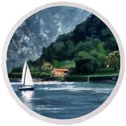 Round Beach Towel featuring the photograph Bellagio Villa by Jim Hill