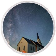 Round Beach Towel featuring the photograph Belleview Selfie  by Aaron J Groen