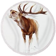 Belling Stag Watercolor Round Beach Towel