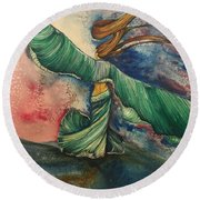 Belly Dancer With Wings  Round Beach Towel
