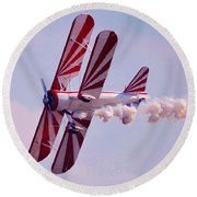 Belly Of A Biplane Round Beach Towel