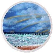 Belmar's Fishing Pier Round Beach Towel