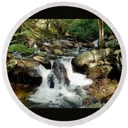 Below Anna Ruby Falls Round Beach Towel