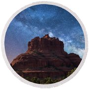 Below The Milky Way At Bell Rock Round Beach Towel