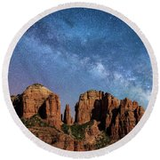 Below The Milky Way At Cathedral Rock Round Beach Towel