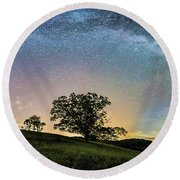 Below The Milky Way At The Blue Ridge Mountains Round Beach Towel