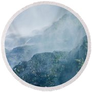 Below Wallace Falls Round Beach Towel