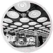 Round Beach Towel featuring the photograph Belt 18 Madrid Airport by Gary Gillette