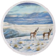 Belt Butte Winter Round Beach Towel