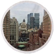 Belvedere Hotel New York City  Room With A View Round Beach Towel