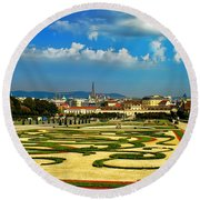 Round Beach Towel featuring the photograph Belvedere Palace Gardens by Mariola Bitner