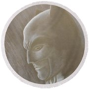 Ben As Batman Round Beach Towel by Josetta Castner