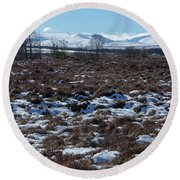 Round Beach Towel featuring the photograph Ben Avon From Moorland Near Tomintoul by Phil Banks