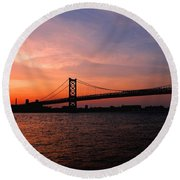 Ben Franklin Bridge Sunset Round Beach Towel