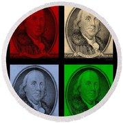 Ben Franklin In Colors Round Beach Towel