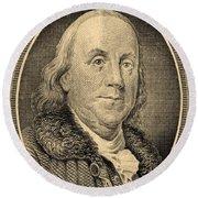 Ben Franklin In Sepia Round Beach Towel