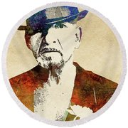 Ben Kingsley Round Beach Towel by Mihaela Pater