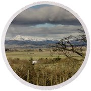Round Beach Towel featuring the photograph Ben Ledi Across The Carse by RKAB Works