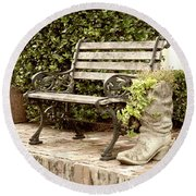 Bench And Boot 2 Round Beach Towel