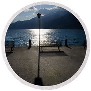 Bench And Street Lamp Round Beach Towel
