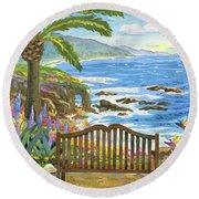 Bench At The Montage Round Beach Towel