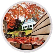 Bench Leaves Round Beach Towel