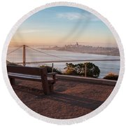 Bench Overlooking Downtown San Francisco And The Golden Gate Bri Round Beach Towel