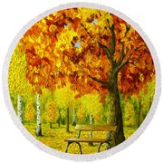 Bench Under The Maple Tree Round Beach Towel