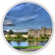 Bench View Of Leeds Castle Round Beach Towel