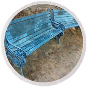 Round Beach Towel featuring the photograph Benches And Blues by Prakash Ghai