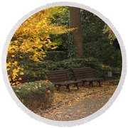 Benches In The Park Round Beach Towel