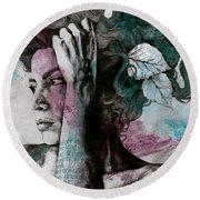 Beneath Broken Earth - Street Art Drawing, Woman With Leaves And Tattoos Round Beach Towel