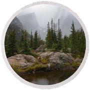 Beneath Hallett Peak Round Beach Towel by Dustin LeFevre