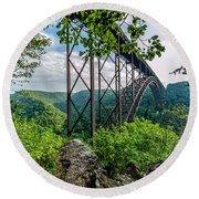 Beneath New River Gorge Bridge Round Beach Towel
