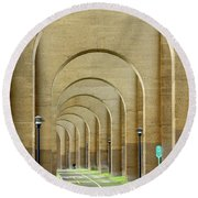 Beneath The Hellgate Round Beach Towel