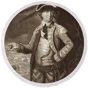Benedict Arnold, After A Portrait Of 1766 With Quebec In The Background Round Beach Towel