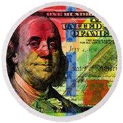 Benjamin Franklin $100 Bill - Full Size Round Beach Towel