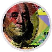 Round Beach Towel featuring the digital art Benjamin Franklin - $100 Bill by Jean luc Comperat