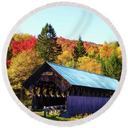 Bennett Covered Bridge In Fall Round Beach Towel