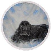 Bennies Love Round Beach Towel by Lisa Rose Musselwhite