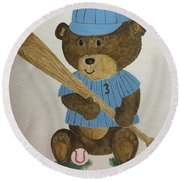 Round Beach Towel featuring the painting Benny Bear Baseball by Tamir Barkan